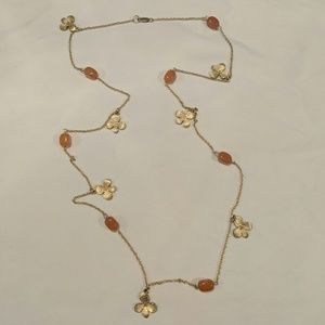Gold and orange with flowers long necklace